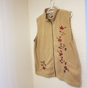 Floral Stitched Zip-Up Vest by Tradition